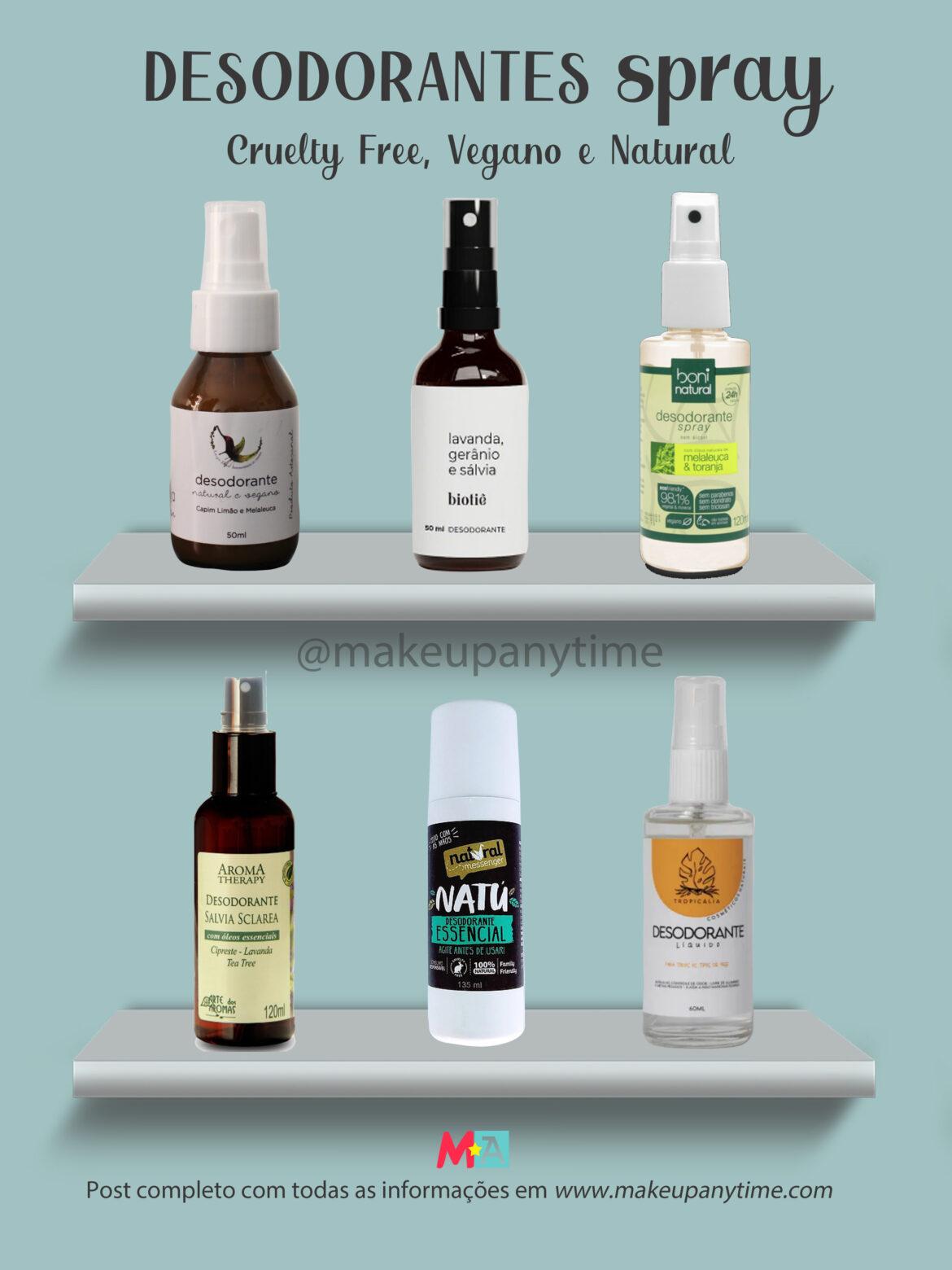 Desodorantes em Spray Naturais e Veganos